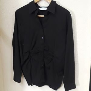 Gathered waist button up blouse